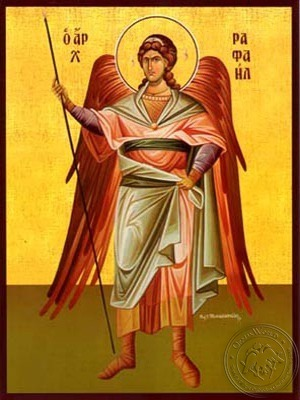 Archangel Raphael Full Body - Hand Painted Icon