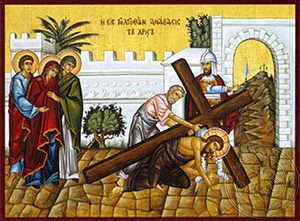 Ascent to Golgotha - Hand Painted Icon
