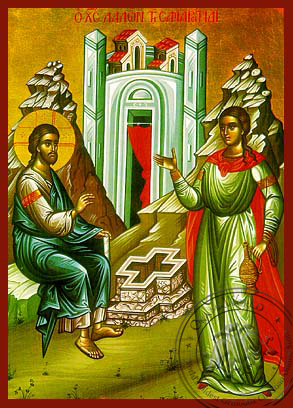 Christ and the Samaritan Woman - Hand Painted Icon