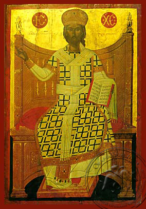 Christ Blessing, King of Kings and Great High Priest, Enthroned - Hand Painted Icon