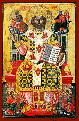 Christ Blessing, King of Kings, Master of Masters and Great High Priest, Enthroned - Hand Painted Icon