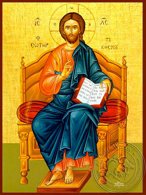 Christ Blessing, Saviour of the World, Enthroned - Hand Painted Icon