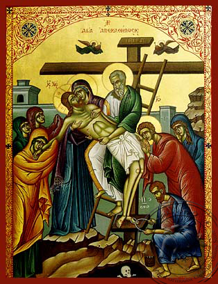 Descent from the Cross - Hand-Painted Icon