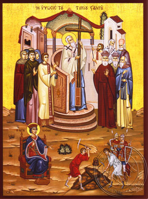 Exaltation and Finding of the Holy Cross - Hand Painted Icon