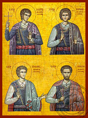 Four Holy Neomartyrs of Rethymne - Hand-Painted Icon