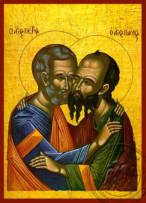 Holy Apostles Peter and Paul, the Embracement - Hand Painted Icon