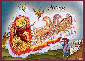 Holy Prophet Elias on Chariot and Holy Prophet Elisha - Hand Painted Icon