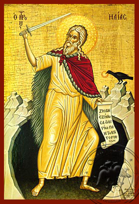 Holy Prophet Elias with Sword, in Cave, Full Body - Hand Painted Icon
