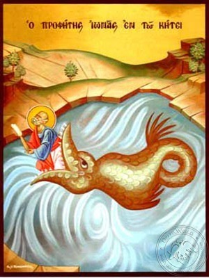 Holy Prophet Jonah Vomited by the Fish - Hand Painted Icon