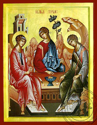 Holy Trinity (Three Angels, from the Hospitality of Abraham) - Hand Painted Icon