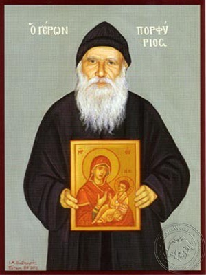 Monk Porfyrios of the Holy Mountain Athos Greece - Hand Painted Icon