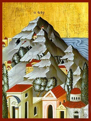 Mount Athos Detail - Hand Painted Icon
