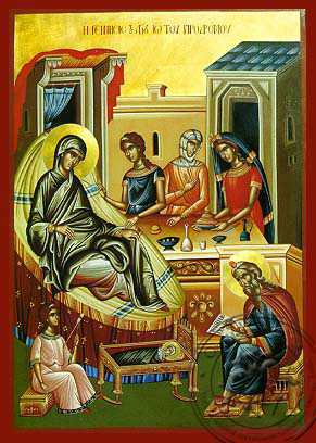 The birth of St.John the Baptist - Hand-Painted Icon
