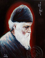 Saint Paisios Red - Original Hand Painted Modern Icon