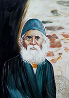 Saint Paisios with Wall - Original Hand Painted Modern Icon