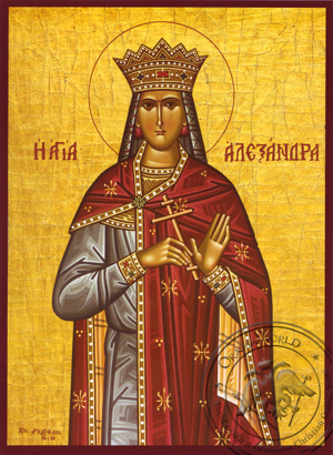 Saint Alexandra, Martyr, the Empress, Wife of Diocletian - Hand Painted Icon