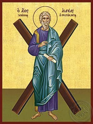 Saint Andrew the Apostle the First-Called with Cross Full Body - Hand Painted Icon