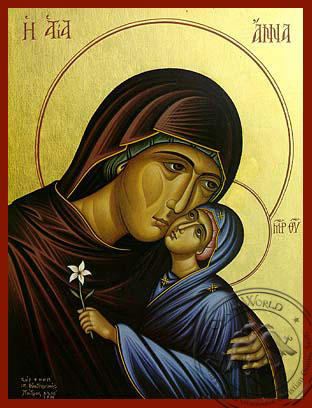 Saint Anne with Virgin, Bust - Hand Painted Icon