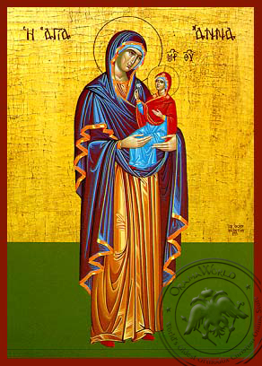 Saint Anne with Virgin, Full Body - Hand Painted Icon