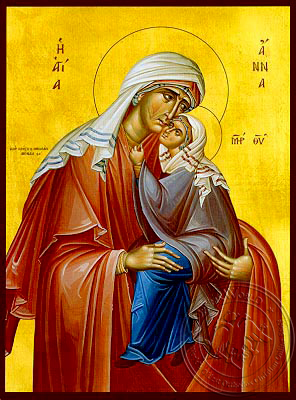 Saint Anne with Virgin - Hand Painted Icon