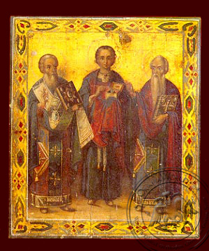 Saint Antipas,Panteleimon,Charalambos - Hand-Painted Icon