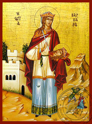 Saint Barbara, the Great Martyr, Full Body - Hand Painted Icon