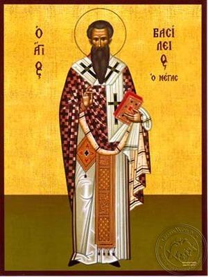 Saint Basil the Great Archbishop of Caesarea Cappadocea Full Body - Hand Painted Icon