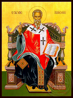 Saint Blaise, Hieromartyr, Bishop of Sebaste, Enthroned - Hand Painted Icon