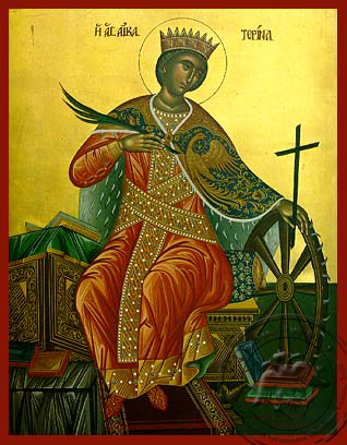 Saint Catherine the Great Martyr, of Alexandria, Enthroned - Hand Painted Icon