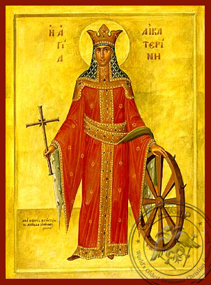 Saint Catherine the Great Martyr, of Alexandria, Full Body - Hand Painted Icon