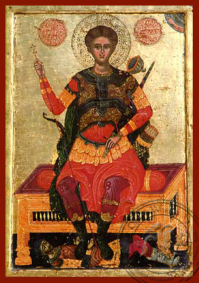 Saint Demetrius the Myrrh-Gusher, Enthroned - Hand Painted Icon