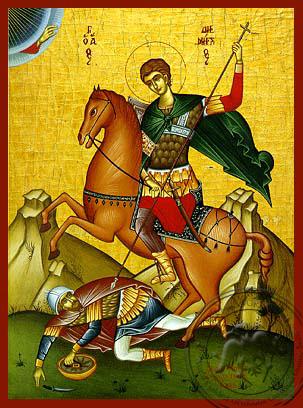 Saint Demetrius the Myrrh-Gusher, on Horseback - Hand Painted Icon