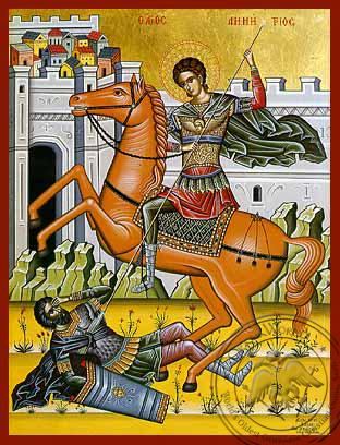 Saint Demetrios on Horseback - Hand-Painted Icon