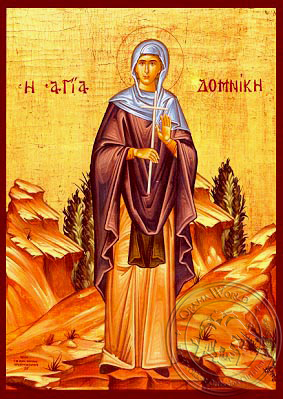Saint Domnica of Constantinople, Full Body - Hand Painted Icon