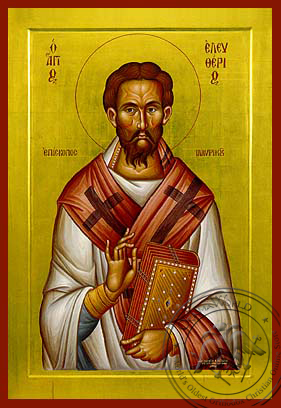 Saint Eleutherius, Hieromartyr, Bishop of Illyria - Hand Painted Icon