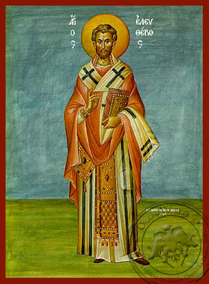 Saint Eleutherius, Hieromartyr, Bishop of Illyria, Full Body - Hand Painted Icon