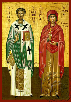 Saint Eleutherios and Anthia, His Mother - Hand-Painted Icon