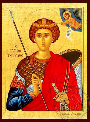 Saint George the Great Martyr, Half - Hand Painted Icon