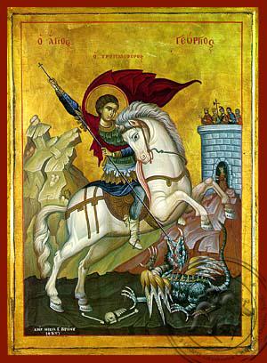 Saint George on Horseback - Hand-Painted Icon