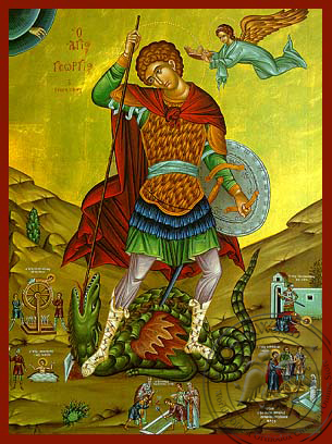 Saint George the Great Martyr, with Scenes from His Life, Full Body - Hand Painted Icon