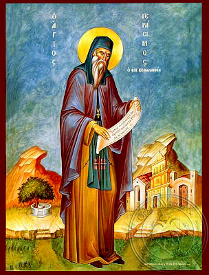 Saint Gerasimus the New Ascetic of Cephalonia, Greece, Full Body - Hand Painted Icon