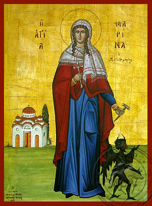 Saint Marina, the Great Martyr, of Antioch, Full Body - Hand Painted Icon