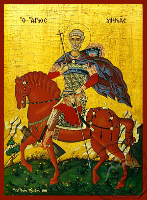 Saint Menas, the Great Martyr, of Egypt, on Horseback - Hand Painted Icon