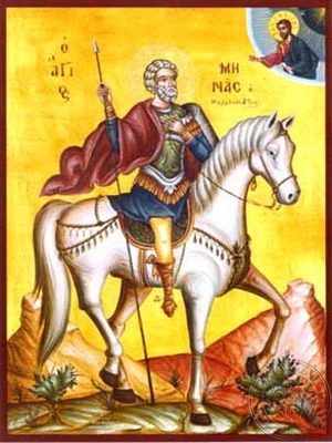 Saint Menas the Great Martyr of Egypt on Horseback - Hand Painted Icon