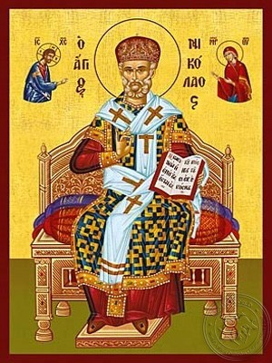 Saint Nicholas Archbishop of Myra in Lycia Enthroned with Miter - Hand Painted Icon