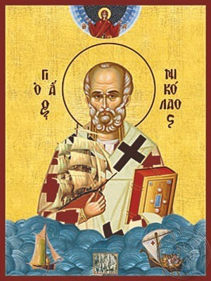Saint Nicholas Archbishop of Myra in Lycia Help of Mariners of Three Vessels - Hand Painted Icon