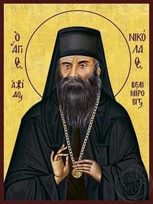 Saint Nicholas Velimirovich Bishop of Ohrid in the Serbian Orthodox Church - Hand Painted Icon