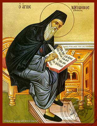 Saint Nicodemus of Mount Athos, Spiritual Writer, Full Body - Hand Painted Icon