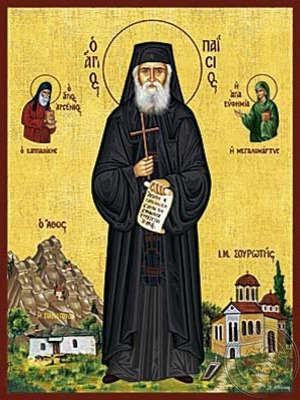 Saint Paisios of the Holy Mountain Athos Greece at the Holy Monastery of Sourote - Hand Painted Icon