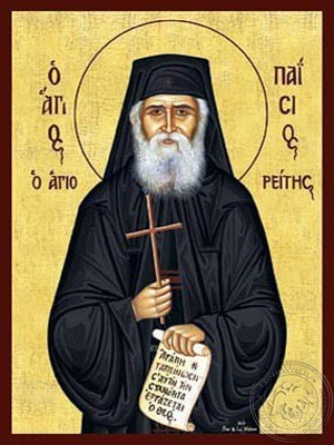 Saint Paisios of the Holy Mountain with Scroll and Cross - Hand Painted Icon